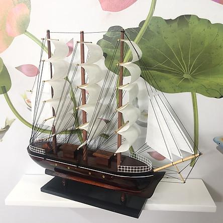 Mô hình thuyền gỗ trang trí tàu chở hàng Le Belem - Dài 43cm - Buồm Trắng