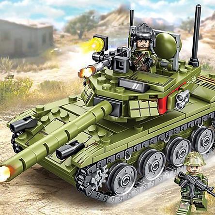 Đồ chơi lắp ráp trẻ em bằng nhựa ABS an toàn -Xe Tank chiến đấu xoay 360 độ