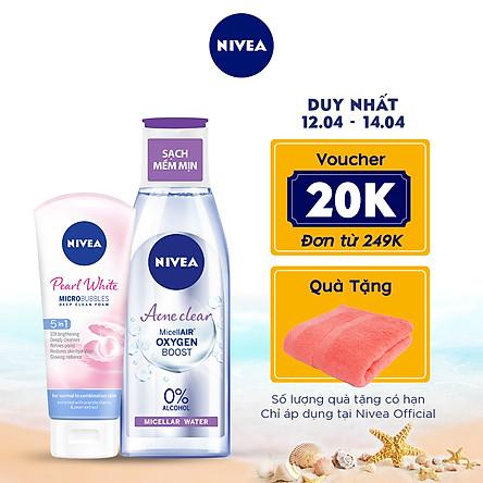 Combo Sữa rửa mặt NIVEA Pearl White giúp trắng da (100g) - 81295 & Nước tẩy trang NIVEA ngừa mụn Acne Care Micellar Water (200ml) - 89271