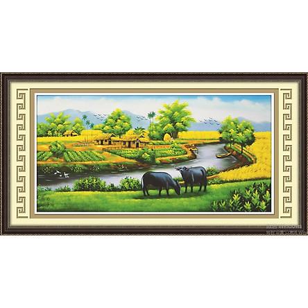 Tranh đính đá phong cảnh Làng Quê Việt ( chưa đính) - 88556