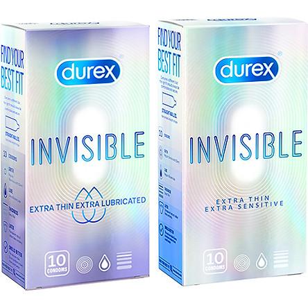 Bao Cao Su Siêu Mỏng, Thêm Chất Bôi Trơn Durex Invisible Extra Lub Hộp 10s + Bao Cao Su Siêu Mỏng Invisible Hộp 10s
