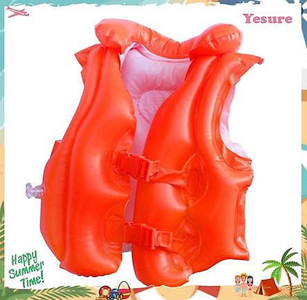 Áo phao tập bơi  Yesure Intex Step 2 tiện dụng dành cho bé 3-6 tuổi(<30 kg), chất liệu nhựa PVC màu cam bắt mắt an toàn cho bé, không thấm nước, dễ dàng vệ sinh - Hàng Chính Hãng Tặng kèm bịt tai Silicon chống nước