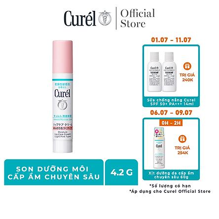 Son Dưỡng Môi Cấp Ẩm Chuyên Sâu Curel Intensive Moisture Care Moisture Lip Care Cream (Light Pink - Hồng Nhẹ) (4.2g)