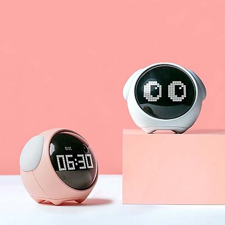 Youpin Xiaomi Đồng hồ báo thức Pixel biểu hiện dễ thương, Đèn Led kỹ thuật số đa chức năng, Đèn điều khiển bằng giọng nói, Đồng hồ nhiệt kế đầu giường Trang chủ