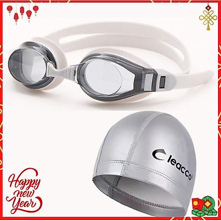 Kính bơi chống tia UV , Chống sương mù , bảo vệ mắt Cleacco, dây đeo được làm 100% silicone mềm mại, thoải mái tặng kèm nón bơi vải PU cao cấp Cleacco (Màu ngẫu nhiên) - Hàng chính hãng