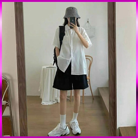 áo sơ mi nữ trắng ngắn tay  50k