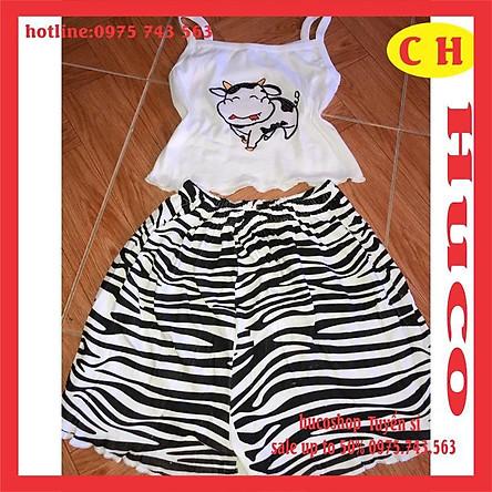 sét bộ đồ nữ hai dây bò sữa hottrend của năm áo 2s thun thêu hình sắc nét mix quần đùi nữ cạp chun ống rộng