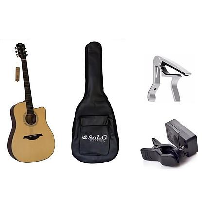Đàn Guitar Acoustic Rex D1CNM + Bao đàn Guitar Sol.G 3 lớp + Máylên dây JA22 + Capo PBA05SL