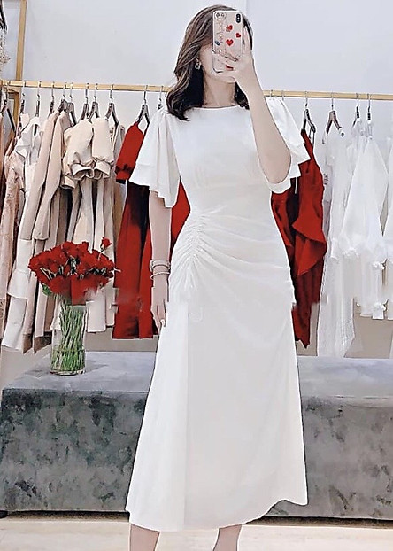 Đầm trắng form dài tùng rút dây