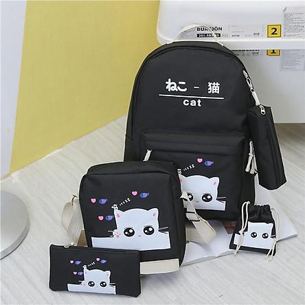 COMBO Bộ 5 ba lô gồm ba lô+túi ipad+ví_túi rút+hộp bút Họa tiết Meo Meo BOTUSI