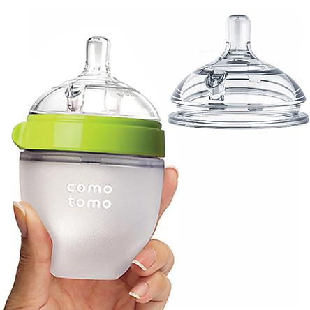 Combo 1 Bình Sữa Comotomo 150ml Xanh Núm 0-3th Và 1 Núm Ty Lẻ Size 2 Núm 3-6th