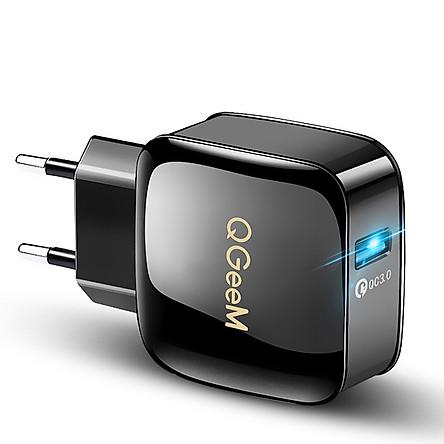 Củ sạc nhanh QGeeM 1 cổng USB hỗ trợ Quick Charge 3.0 cho iPhone EU plug 18W Adapter chuyển đổi sạc nhanh dành cho Samsung Xiaomi Huawei-Hàng chính hãng