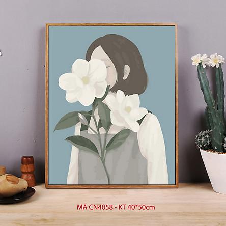 Tranh tô màu theo số Cô gái hoa trà đơn giản dễ vẽ CN4058