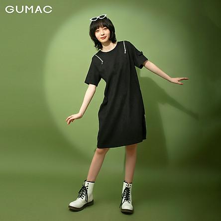 Đầm suông nữ phối dây kéo GUMAC DB1130