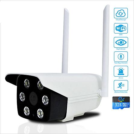 [ TẶNG THẺ NHỚ 32GB ] Camera Wifi Giám Sát Ngoài Trời Không Dây, Chống Nước 2.0Mpx 1080P - 2 Đèn Hồng Ngoại - 4 Đèn Trắng Ban Đêm Có Màu - Bắt Wifi Cực Khỏe - Hình Ảnh Rõ Nét - Nhập Khẩu