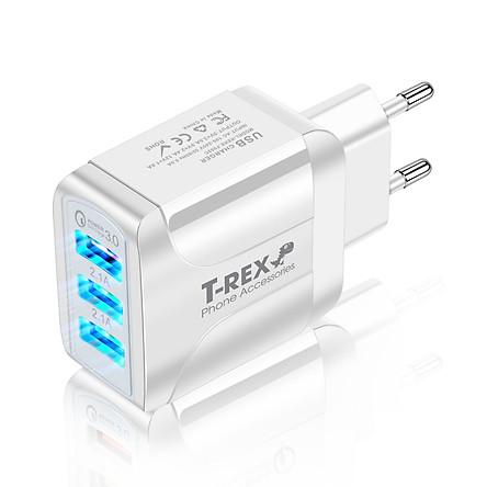 Củ Sạc Điện Thoại LED T-REX 3 Đầu USB, Sạc Nhanh QC3.0 Cánh Bướm (Hàng Chính Hãng) Dùng Cho Thiết Bị Iphone/ Samsung/ Android - DT067