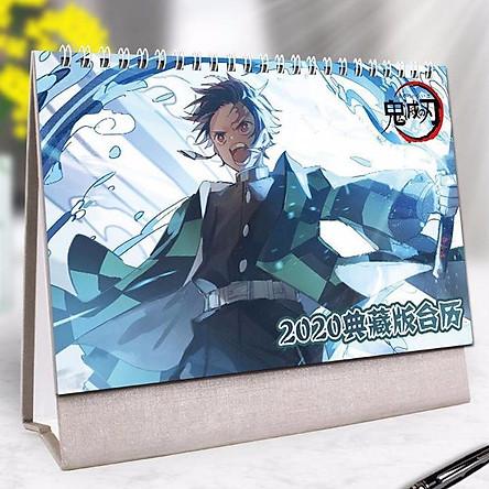 Lịch để bàn 2020 Kimetsu no yaiba thanh gươm diệt quỷ anime tặng ảnh thiết kế Vcone