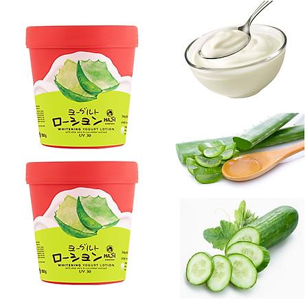 Combo 2 hũ Kem Dưỡng Thể Trắng Da Hasi Chiết xuất Sữa Chua & Nha Đam - Whitening Yogurt Lotion With Aloe Vera & Cucumber Extract