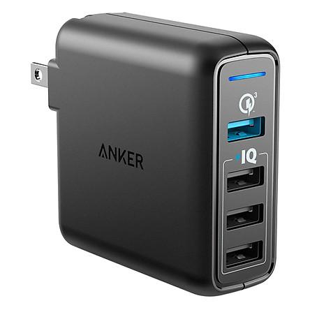 Adapter Sạc 4 Cổng Anker PowerPort Speed 43.5W Hỗ Trợ Sạc Nhanh QC 3.0 - A2040111 (Đen) - Hàng Chính Hãng