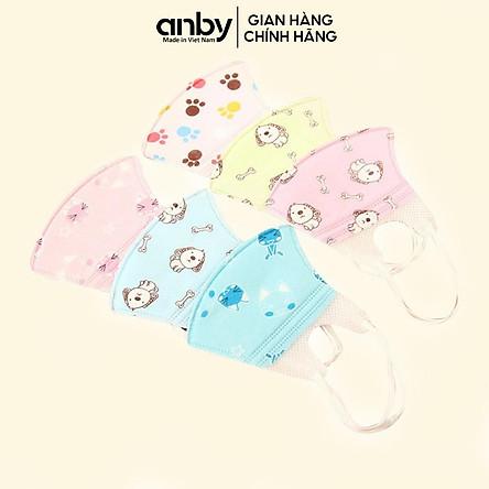 Set 5 khẩu trang giấy ANBY chống bụi in hình ngộ nghĩnh cho bé từ sơ sinh đến 6 tuổi