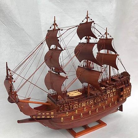 Thuyền mô hình gỗ Hương phong thủy mang lại may mắn dài 60cm