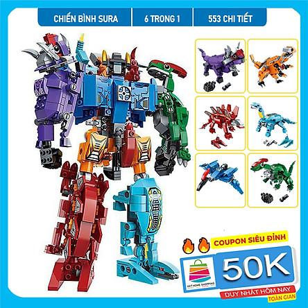 Đồ chơi lắp ráp trẻ em bằng nhựa ABS an toàn -Robot Chiến Binh Sura 553 Chi tiết