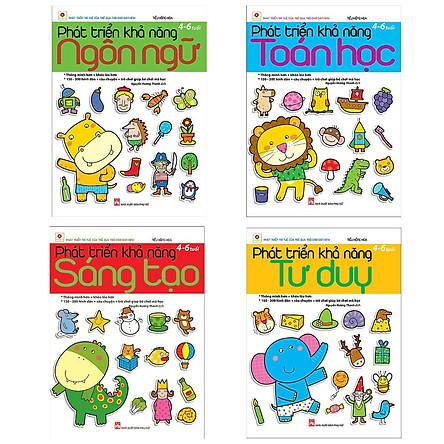 Combo 4 Cuốn Sách Phát Triển Khả Năng Cho Bé (4 - 6 Tuổi): Sáng Tạo + Tư Duy + Ngôn Ngữ + Toán Học (Tặng Kèm Bookmark Happy Life)