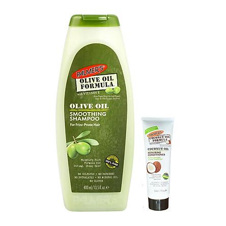 Dầu gội dưỡng tóc, làm sạch và nuôi dưỡng tóc giảm hư tổn Olive Palmer's Olive Oil Formula Smoothing Shampoo 400ml + tặng dầu xã dừa Palmer's 50ml