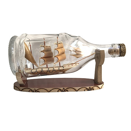 Mô hình thuyền gỗ trong chai Lớn N4