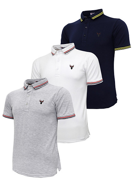 Bộ 3 áo thun nam cổ bẻ logo ép 3D chuẩn phong độ Pigofashion AHT16 xanh đen, trắng, xám