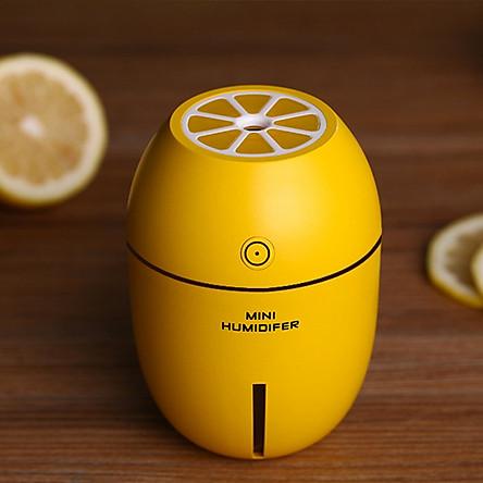 Máy phun sương tạo ẩm mini Humidifier hình trái chanh kiêm đèn ngủ - Màu vàng chanh