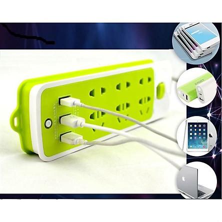 Ổ Cắm Điện Đa Năng Thông Minh Chống Giật 6 Lỗ Kèm 3 Cổng USB Tiện Dụng (Xanh)