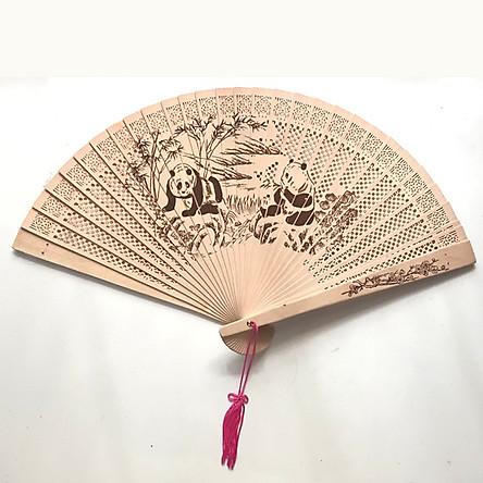 Quạt gỗ thơm họa tiết phong cách cổ quạt trúc xếp cầm tay phong cách Trung Quốc in hoa trang trí