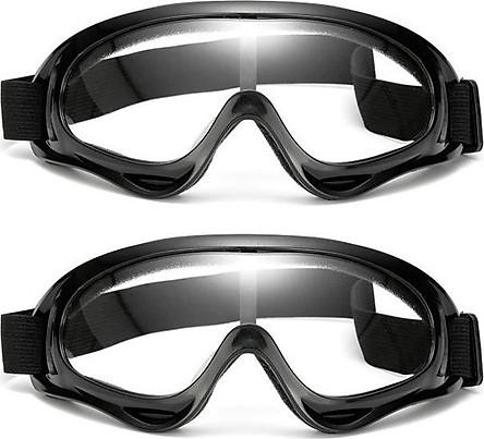 Bộ 2 Mắt Kính Đi Phượt X400 (Màu Đen, Tròng Trong Suốt)