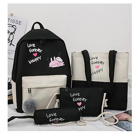 Balo set 4 món thỏ hồng cặp học sinh sinh viên laptop nữ đi du lịch giá rẻ