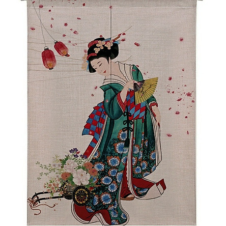 Màn rèm noren Nhật Bản  85x120cm - Geisha
