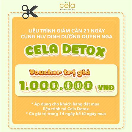 Voucher áp dụng trên chuỗi nhà hàng Celadetox với liệu trình 21 ngày giảm cân an toàn, không gây mệt mỏi dùng phương pháp eatclean do HLV dinh dưỡng thiết kế