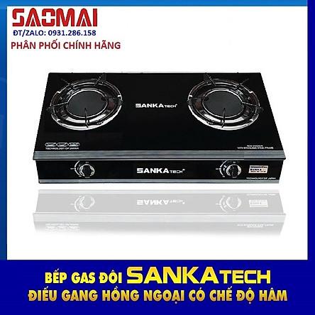 Bếp Ga Hồng Ngoại SANKA tech SKT 722B - Điếu gang lớn 120mm - Nấu nhanh - Màu đen sang trọng - Hàng chính hãng