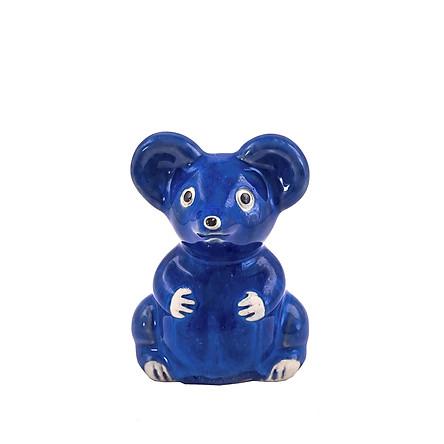 Chuột men xanh dương – tượng gốm sứ trang trí hình động vật