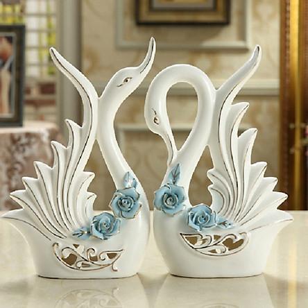 Đôi Thiên Nga gốm sứ trắng cao cấp phối hoa hồng xanh