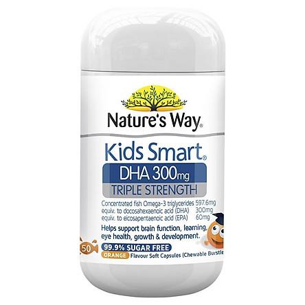 Kẹo nhai bổ sung dinh dưỡng cho trẻ - Natures Way Kids Smart DHA 300mg Triple Strength ( 50 viên )