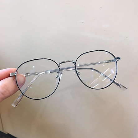 Gọng kính cận, Kính giả cận Mắt tròn kim loại gọng cốt cao cấp + tặng Tuavit Kính xinh mini