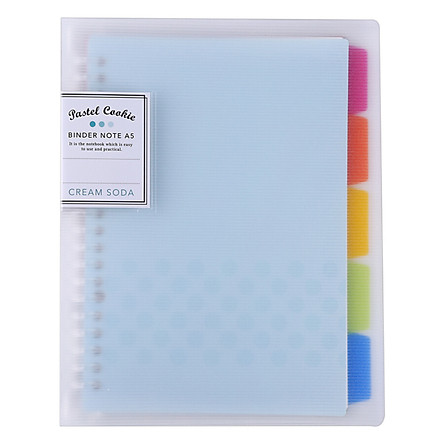 Kokuyo Campus WSG-RUCP12B Blue Cover Loose-leaf Notebook with 40 A5 Pages and Separator Pages in 5 Colors