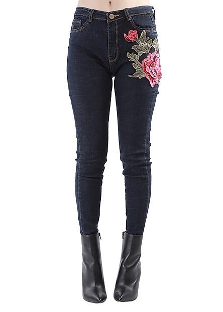 Quần Jeans Nữ Kết Hoa Đỏ Co Giãn JNTH012