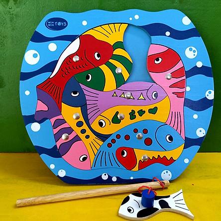 Bộ câu cá, đồ chơi câu cá ghép hình bằng gỗ