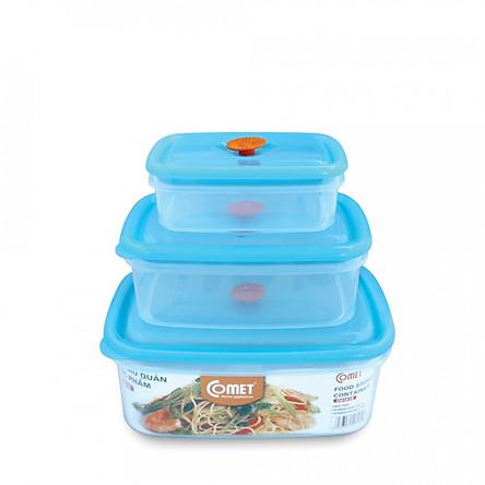Bộ hộp đựng thực phẩm nhựa 3 món chữ nhật Comet CH1618
