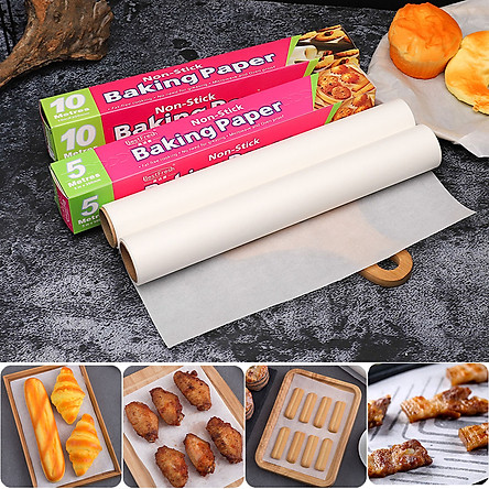 Set 02 Cuộn Giấy Nến Giấy Sáp Giấy Lót Nướng Bánh Lẩu Nướng Hấp Bánh Nướng Thực Ăn Chịu Nhiệt Chống Dính Không Thấm Dầu Tiện Dụng 30cm x 20m + Tặng Chổi Phết Dầu Ăn