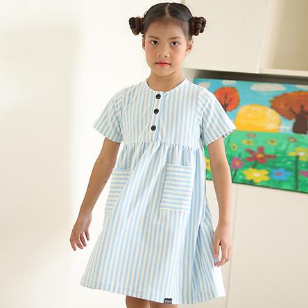 Đầm Bé Gái Thun Kẻ Sọc Xanh KIKA K101
