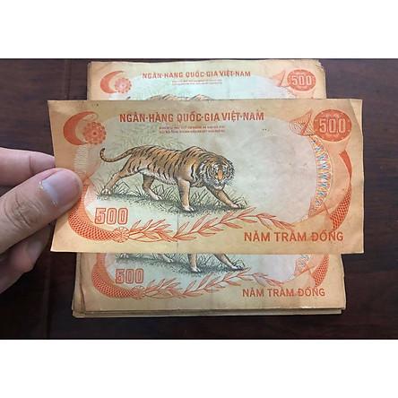 Tờ 500 đồng con Cọp 1972, đồng tiển cổ Thanh Thúy, bộ thú Miền Nam Việt Nam