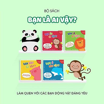 Combo 4 cuốn truyện tranh Ehon Nhật Bản - Ehon Động Vật (Bạn ở đâu vậy, Bạn ăn gì vậy, Bạn màu gì vậy, Bạn là ai vậy) - Dành cho trẻ 0-3 tuổi